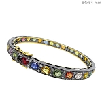 Victorian Bracelet 1 Ct Natural Certified Diamond Sapphire 925 Sterling Silver Festive